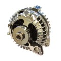 External Voltage Regulator - Single Pulley 60 AMP Powermaster Birdcage Style Alternator - Chrome Finish